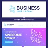 Beautiful Business Concept Brand Name space craft, shuttle, spac. E, rocket, launch Logo Design and Pink and Blue background Website Header Design template vector illustration
