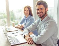 Beautiful business couple working Stock Photo