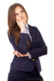 Beautiful business girl thinks of work Royalty Free Stock Photography