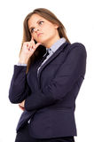 Beautiful business girl thinks of work Royalty Free Stock Photos