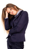 Beautiful business girl thinks of work Stock Photography