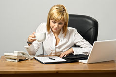 Beautiful Business Lady with Coffee Royalty Free Stock Image