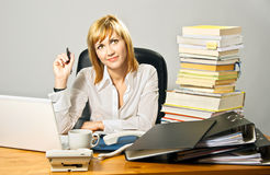 Beautiful Business Lady at Desk Stock Photos
