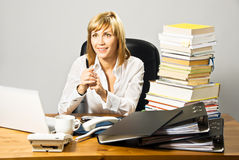 Beautiful Business Lady at Desk Royalty Free Stock Photo