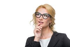Beautiful business lady in glasses Stock Image
