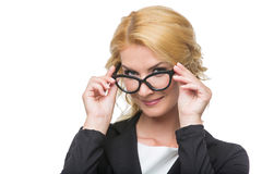 Beautiful business lady in glasses Stock Photos