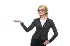 Beautiful business lady in glasses Stock Images