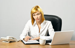 Beautiful Business Lady with Laptop Royalty Free Stock Photography