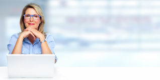 Beautiful business lady with laptop. Stock Images
