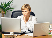 Beautiful Business Lady with Laptops Stock Image