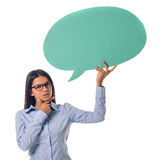 Beautiful business lady with speech bubble stock images