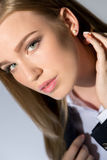 Beautiful business lady in suit royalty free stock photography