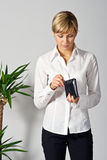 Beautiful Business Lady with a wallet Stock Photo