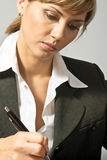 Beautiful Business Lady Writing Stock Images