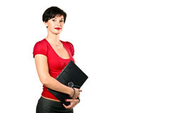Beautiful business woman. Portrait of beautiful business woman in red sweater holding a folder royalty free stock image