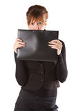 Beautiful business woman. With a black folder Royalty Free Stock Images