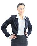 Beautiful business woman. Nice smiles. isolated on a white background Royalty Free Stock Image