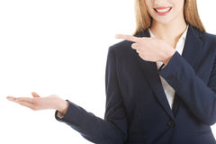 Beautiful business woman is advertising. Stock Photos
