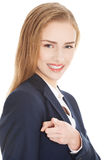 Beautiful business woman is advertising. Royalty Free Stock Photos