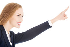 Beautiful business woman is advertising. Stock Photo