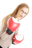 Beautiful business woman with boxing gloves. Stock Images