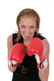 Beautiful Business Woman In Boxing Gloves 5b. Attractive blonde executive business woman puts on the boxing gloves to do battle in the corporate world royalty free stock photos