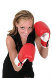 Beautiful Business Woman In Boxing Gloves 6. Attractive blonde executive business woman puts on the boxing gloves to do battle in the corporate world stock photo