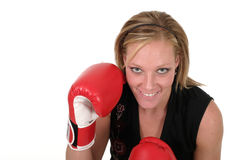 Beautiful Business Woman In Boxing Gloves 7b. Attractive blonde executive business woman puts on the boxing gloves to do battle in the corporate world stock image