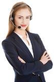 Beautiful business woman at call center. Royalty Free Stock Photos