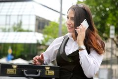 Beautiful Business Woman in City Outdoor Concept. Photo Royalty Free Stock Photography