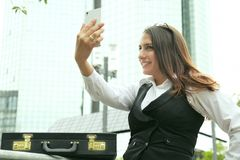 Beautiful Business Woman in City Outdoor Concept. Photo Stock Photography