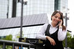 Beautiful Business Woman in City Outdoor Concept. Photo Stock Images