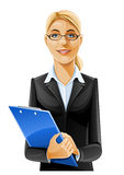 Beautiful business woman with clipboard. Illustration isolated on white background Royalty Free Stock Photo