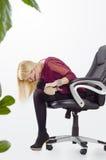 Beautiful business woman doing yoga stretching Stock Photo