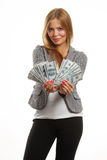 Beautiful business woman with dollars in the hands Stock Images