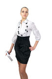 Beautiful business woman dressed skirt Royalty Free Stock Photography