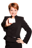 Beautiful business woman with empty card. On white background Royalty Free Stock Images