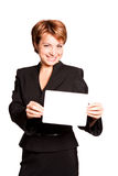 Beautiful business woman with empty card Stock Images