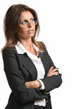 Beautiful business woman with eyeglasses Royalty Free Stock Photo