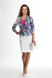 Beautiful Business Woman Fashion Model isolated on white. stock image