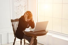 Beautiful business woman feeling stress from work. Beautiful business woman feeling stress from work background Royalty Free Stock Photos