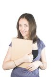 Beautiful business woman with a folder Royalty Free Stock Photography