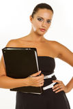 Beautiful business woman with folder royalty free stock photography