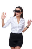 Beautiful business woman with futuristic glasses Royalty Free Stock Photos
