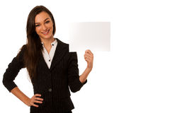 Beautiful business woman gesturing success with showing thumb up Royalty Free Stock Images