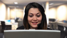 Beautiful business woman girl talk laptop chat close up Stock Photo