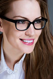 Beautiful business woman with glasses Royalty Free Stock Images
