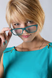Beautiful business woman with glasses. Close-up portrait Royalty Free Stock Photos