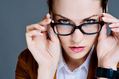 Beautiful business woman with glasses Stock Photography