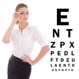 Beautiful business woman in glasses and eye test chart isolated. On white background stock images